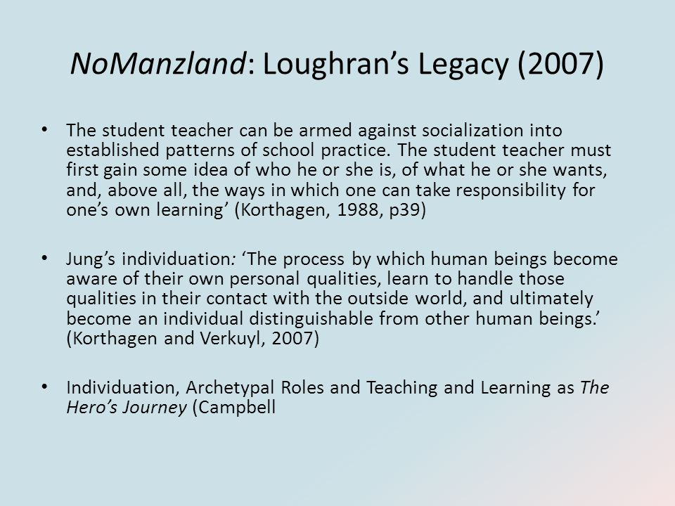 NoManzland: Loughran's Legacy (2007) The student teacher can be armed against socialization into established patterns of school practice.