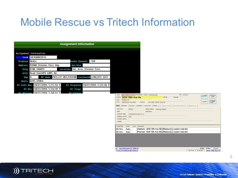 5 TriTech Software Systems I Proprietary & Confidential Mobile Rescue vs Tritech Information