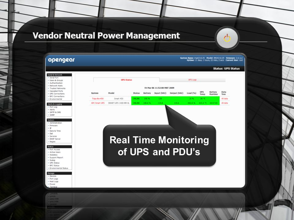 Vendor Neutral Power Management Real Time Monitoring of UPS and PDU's