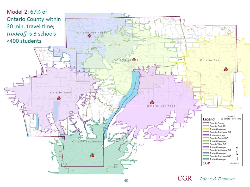 Inform & Empower CGR 40 Model 2: 67% of Ontario County within 30 min.