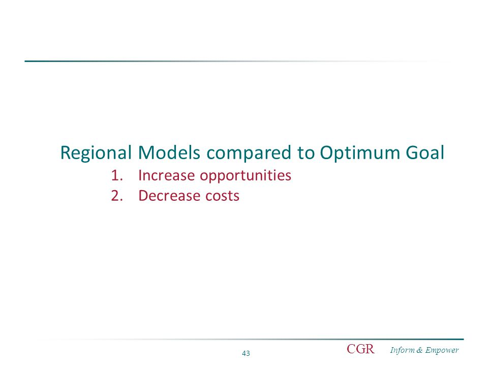 Inform & Empower CGR 43 Regional Models compared to Optimum Goal 1.Increase opportunities 2.Decrease costs