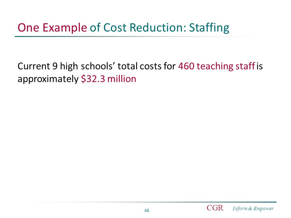 Inform & Empower CGR 48 One Example of Cost Reduction: Staffing Current 9 high schools' total costs for 460 teaching staff is approximately $32.3 million