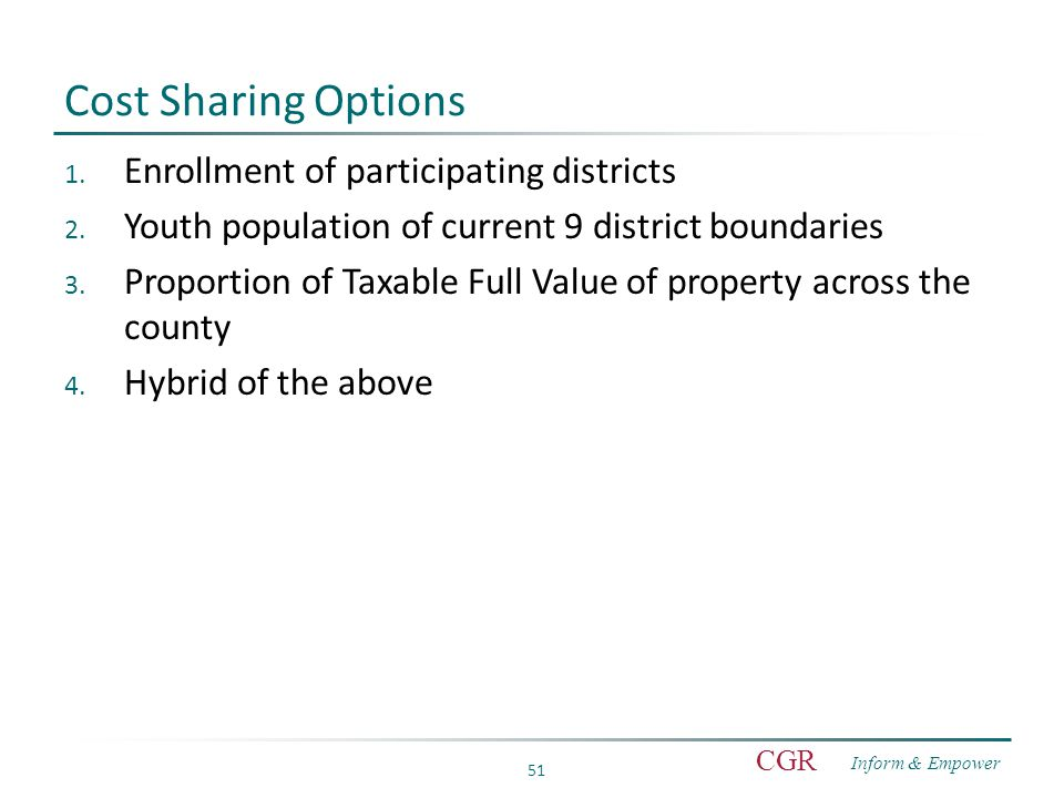 Inform & Empower CGR 51 Cost Sharing Options 1. Enrollment of participating districts 2.