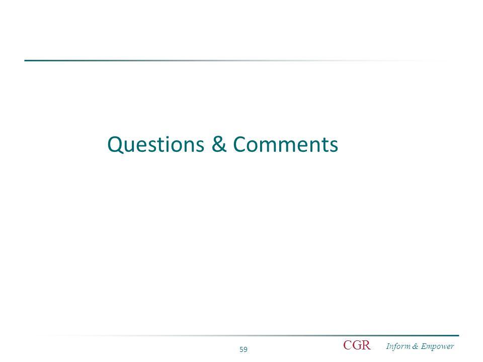 Inform & Empower CGR 59 Questions & Comments