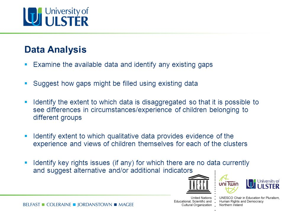 Data Analysis  Examine the available data and identify any existing gaps  Suggest how gaps might be filled using existing data  Identify the extent to which data is disaggregated so that it is possible to see differences in circumstances/experience of children belonging to different groups  Identify extent to which qualitative data provides evidence of the experience and views of children themselves for each of the clusters  Identify key rights issues (if any) for which there are no data currently and suggest alternative and/or additional indicators