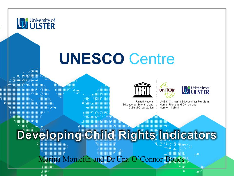 OFMDFM funded research project aims to develop a set of strategic child rights indicators related to the UN Convention on the Rights of the Child (UNCRC) by further developing existing work on this area and drawing upon international standards and good practice including the general comments and concluding observations of the UN Committee on the Rights of the Child to provide a child rights indicators framework for the data analysis required to inform the state report to the Committee on the Rights of the Child which could also potentially be used to inform the development and review of future strategy and policy in relation to children and young people in NI as well as identifying gaps in data which could align future research needs and commissioning to the UNCRC