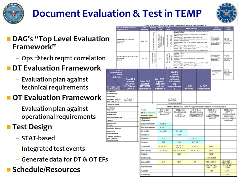 "Document Evaluation & Test in TEMP n DAG's ""Top Level Evaluation Framework"" –Ops  tech reqmt correlation n DT Evaluation Framework –Evaluation plan a"