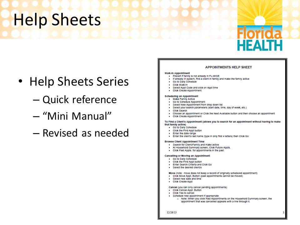 "Help Sheets Help Sheets Series – Quick reference – ""Mini Manual"" – Revised as needed"