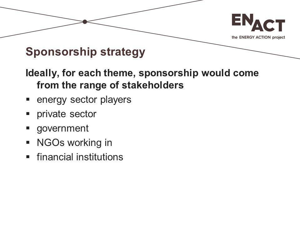 Sponsorship strategy Ideally, for each theme, sponsorship would come from the range of stakeholders  energy sector players  private sector  governm