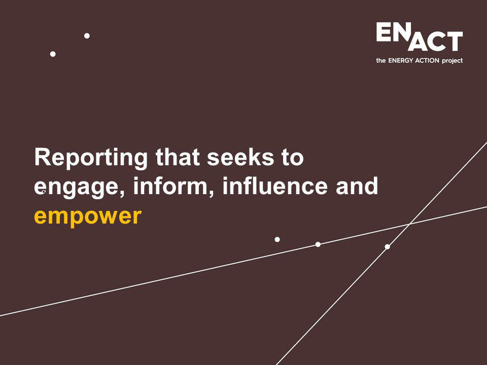 Presentation title Reporting that seeks to engage, inform, influence and empower.