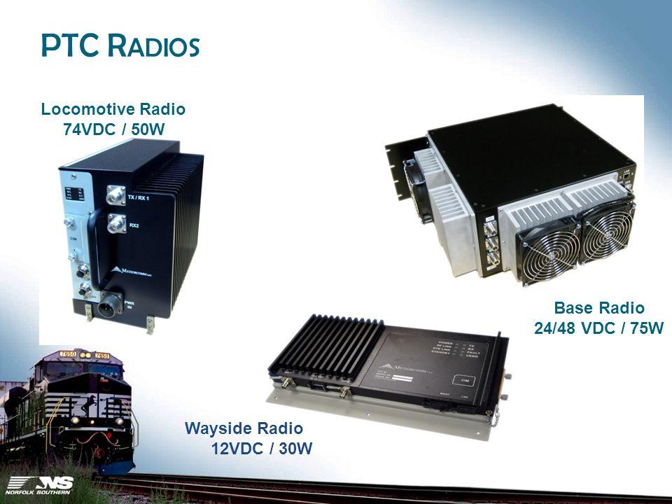 PTC R ADIOS Locomotive Radio 74VDC / 50W Base Radio 24/48 VDC / 75W Wayside Radio 12VDC / 30W