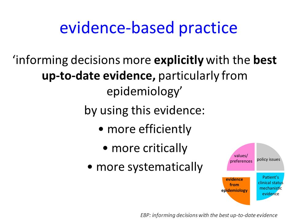 evidence-based practice 'informing decisions more explicitly with the best up-to-date evidence, particularly from epidemiology' by using this evidence: more efficiently more critically more systematically EBP: informing decisions with the best up-to-date evidence
