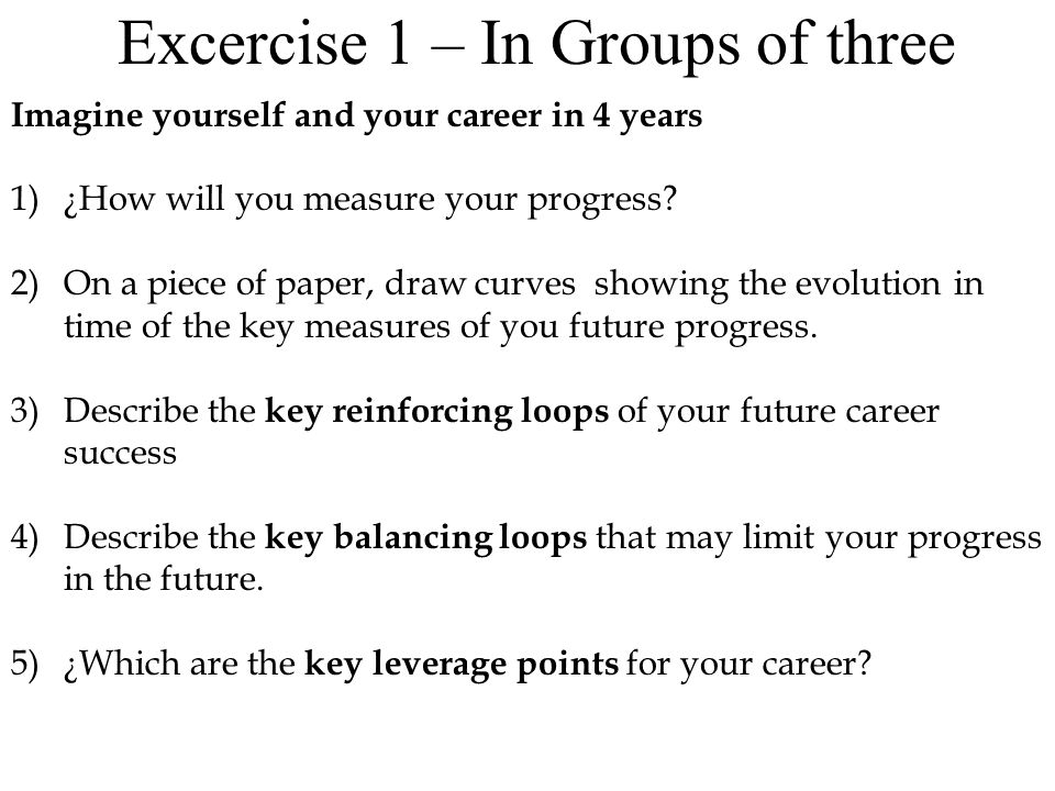 Excercise 3: – Updating your Model 1)¿Which are the main metrics you'll use to measure you career advance.