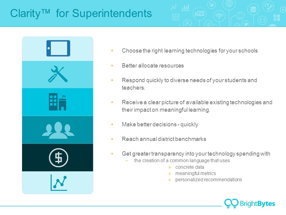 Clarity™ for Superintendents Choose the right learning technologies for your schools Better allocate resources Respond quickly to diverse needs of your students and teachers.
