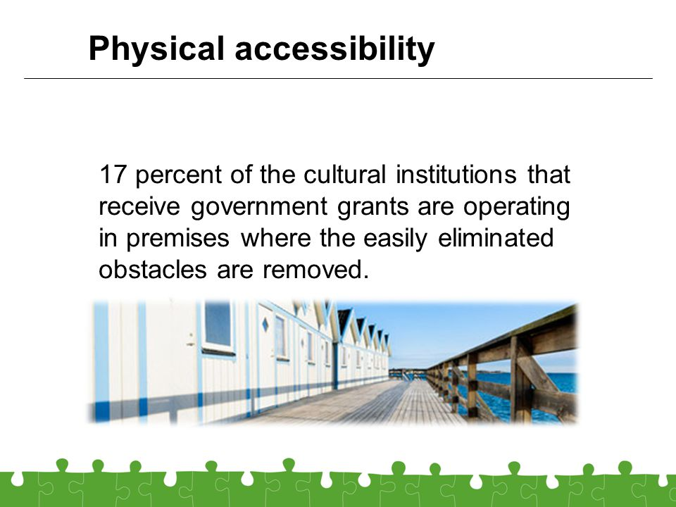17 percent of the cultural institutions that receive government grants are operating in premises where the easily eliminated obstacles are removed.