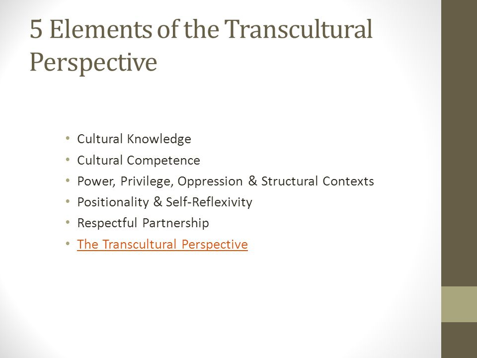 5 Elements of the Transcultural Perspective Cultural Knowledge Cultural Competence Power, Privilege, Oppression & Structural Contexts Positionality &