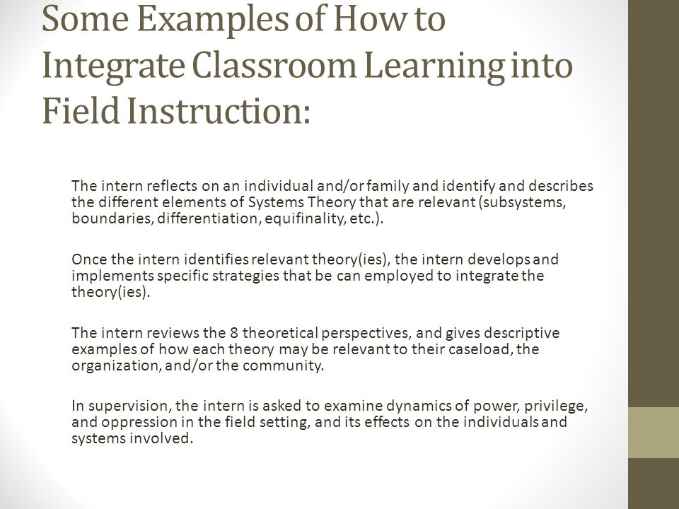 Some Examples of How to Integrate Classroom Learning into Field Instruction: The intern reflects on an individual and/or family and identify and descr