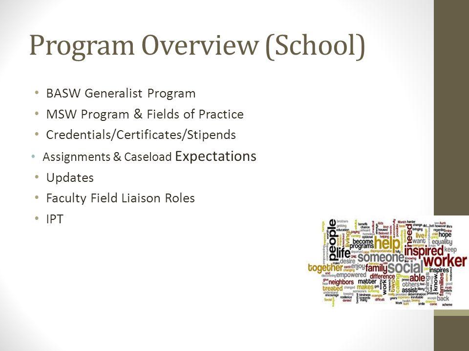 Program Overview (School) BASW Generalist Program MSW Program & Fields of Practice Credentials/Certificates/Stipends Assignments & Caseload Expectatio