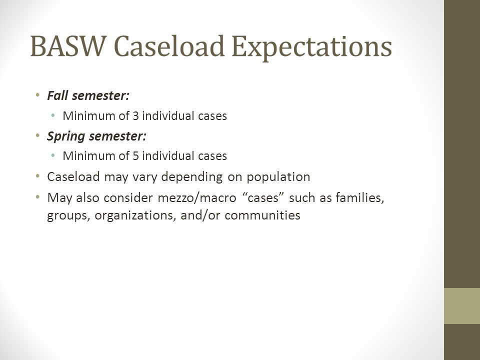BASW Caseload Expectations Fall semester: Minimum of 3 individual cases Spring semester: Minimum of 5 individual cases Caseload may vary depending on