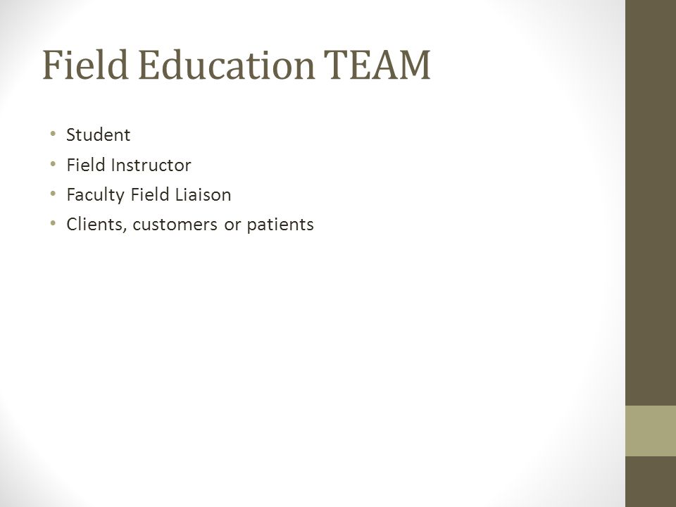 Field Education TEAM Student Field Instructor Faculty Field Liaison Clients, customers or patients
