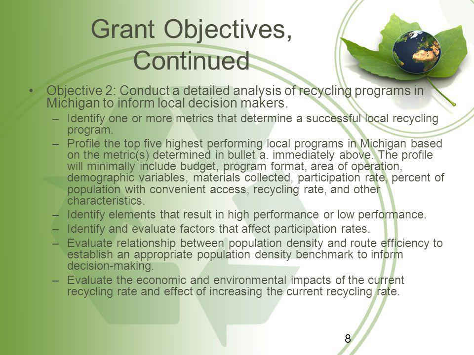 Grant Objectives, Continued Objective 3: Determine the amount and type of recyclable material disposed of in Michigan to inform local decision makers.