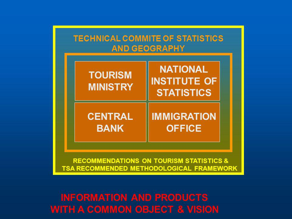 TOURISM MINISTRY NATIONAL INSTITUTE OF STATISTICS IMMIGRATION OFFICE CENTRAL BANK TECHNICAL COMMITE OF STATISTICS AND GEOGRAPHY RECOMMENDATIONS ON TOU