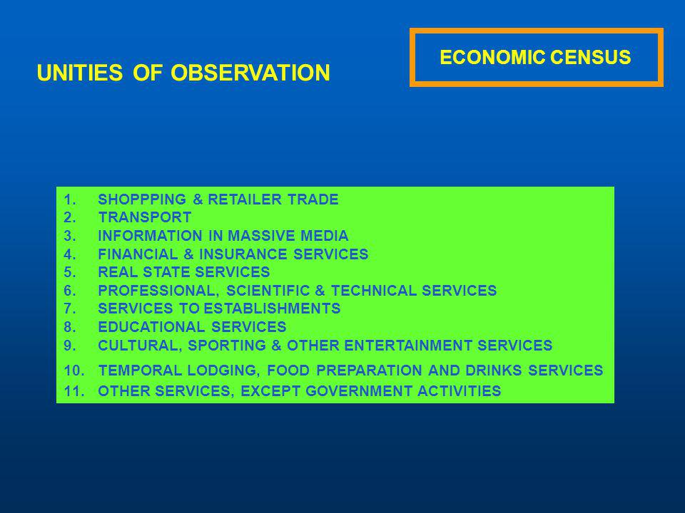 ECONOMIC CENSUS APPLICATION 23 QUESTIONNAIRES FOR THE NATIONAL ECONOMY 12 QUESTIONNAIRES FOR TOURISTIC ESTABLISHMENTS