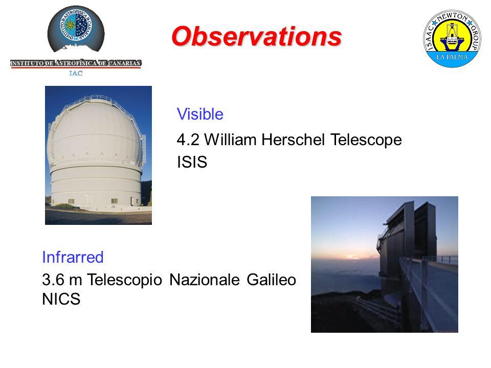 Observations Visible 4.2 William Herschel Telescope ISIS Infrarred 3.6 m Telescopio Nazionale Galileo NICS