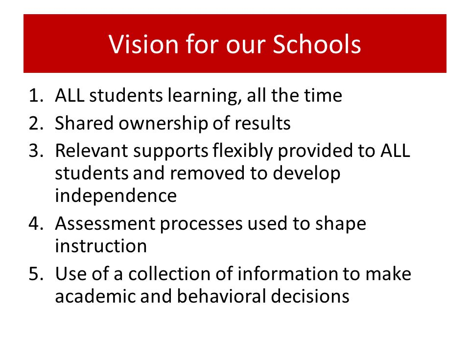 Vision for our Schools 1.ALL students learning, all the time 2.Shared ownership of results 3.Relevant supports flexibly provided to ALL students and removed to develop independence 4.Assessment processes used to shape instruction 5.Use of a collection of information to make academic and behavioral decisions