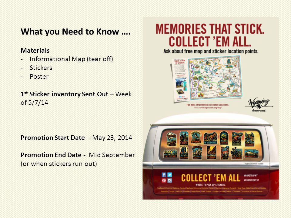 What you Need to Know …. Materials -Informational Map (tear off) -Stickers -Poster 1 st Sticker inventory Sent Out – Week of 5/7/14 Promotion Start Da