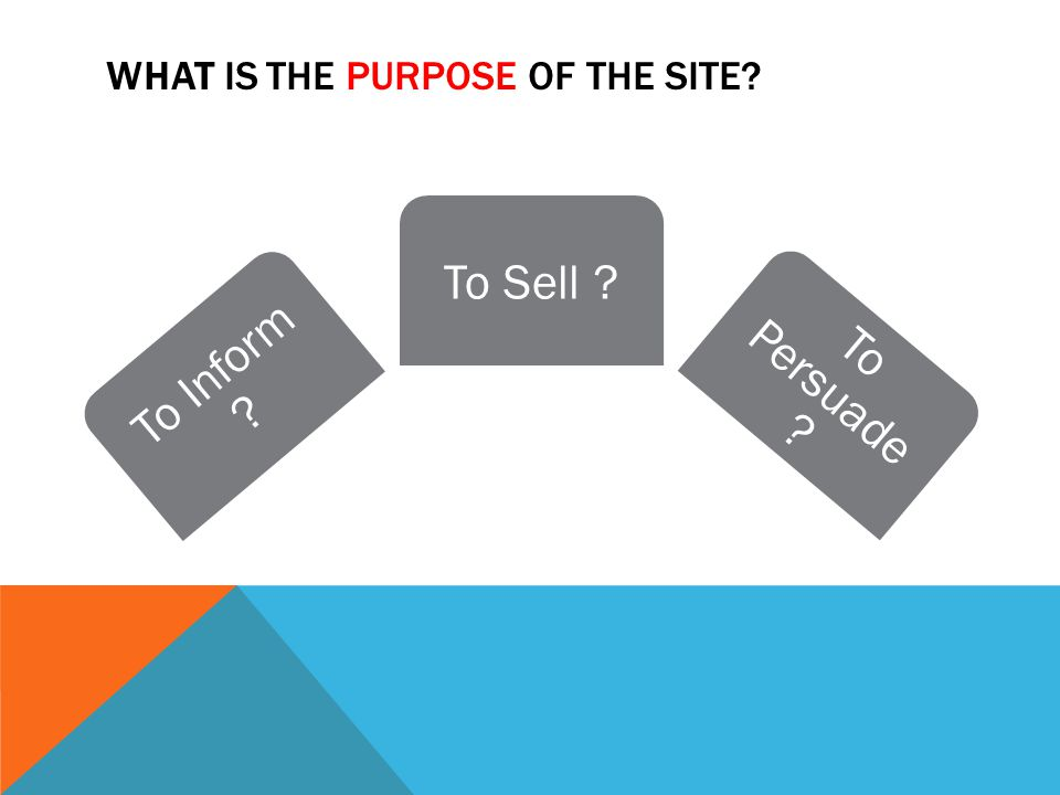WHAT IS THE PURPOSE OF THE SITE To Inform To Sell To Persuade