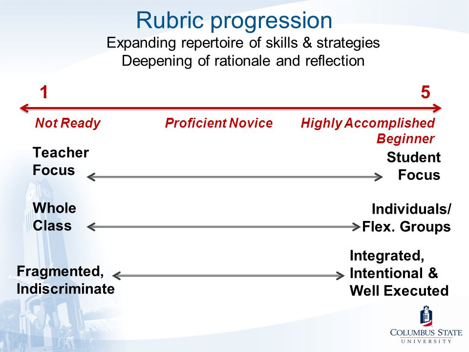 Rubric progression Expanding repertoire of skills & strategies Deepening of rationale and reflection Not ReadyProficient NoviceHighly Accomplished Beg