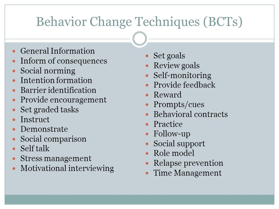 Behavior Change Techniques (BCTs) General Information Inform of consequences Social norming Intention formation Barrier identification Provide encouragement Set graded tasks Instruct Demonstrate Social comparison Self talk Stress management Motivational interviewing Set goals Review goals Self-monitoring Provide feedback Reward Prompts/cues Behavioral contracts Practice Follow-up Social support Role model Relapse prevention Time Management