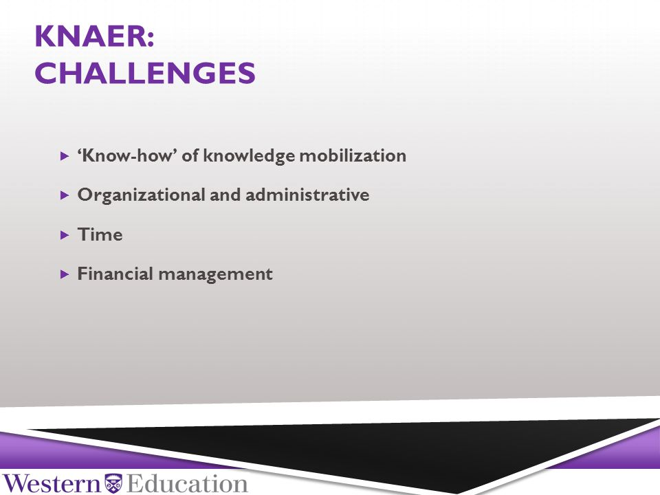 KNAER: CHALLENGES  'Know-how' of knowledge mobilization  Organizational and administrative  Time  Financial management