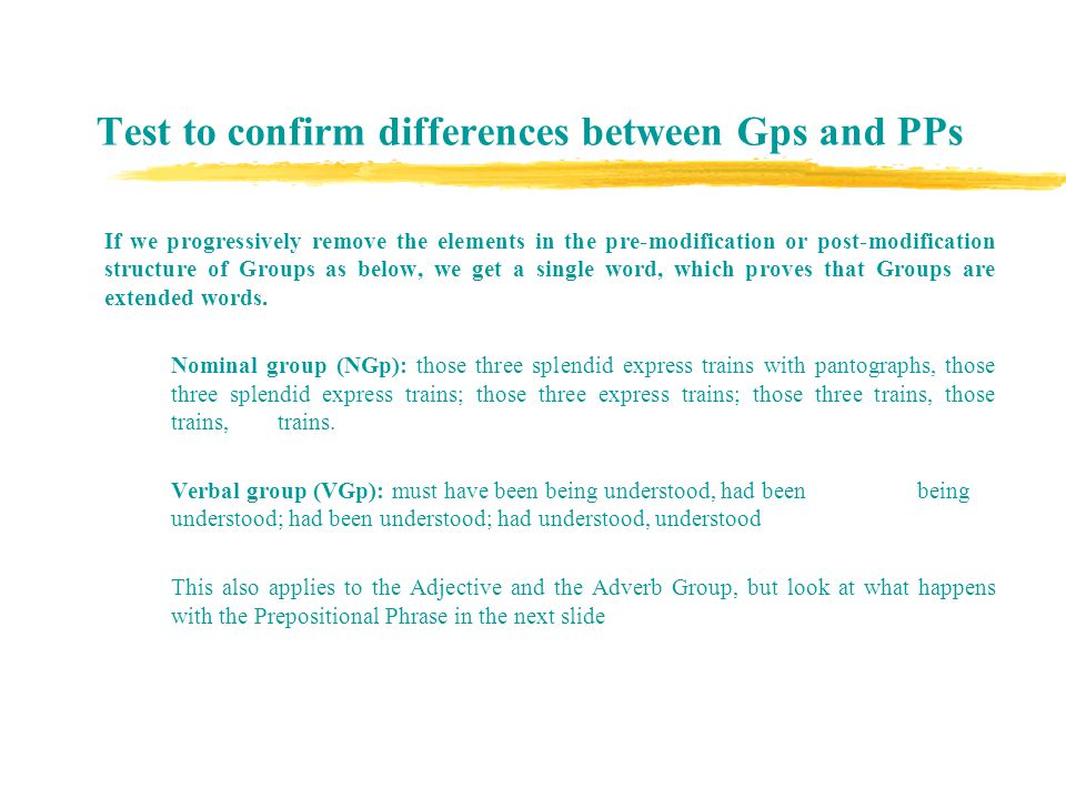 Test to confirm differences between Gps and PPs They met at the new railway station.