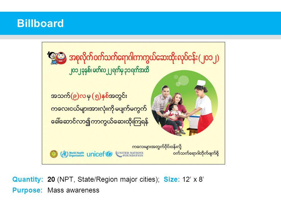 Billboard Quantity: 20 (NPT, State/Region major cities); Size: 12' x 8' Purpose: Mass awareness