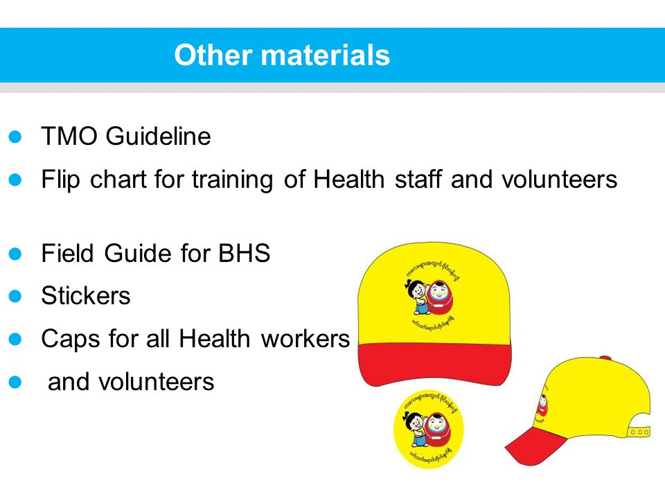 Other materials TMO Guideline Flip chart for training of Health staff and volunteers Field Guide for BHS Stickers Caps for all Health workers and volunteers