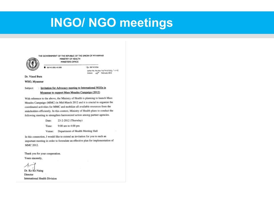 INGO/ NGO meetings