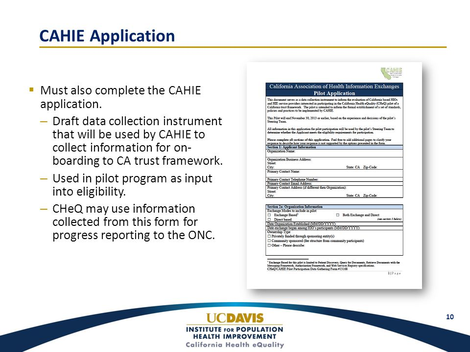 CAHIE Application  Must also complete the CAHIE application.
