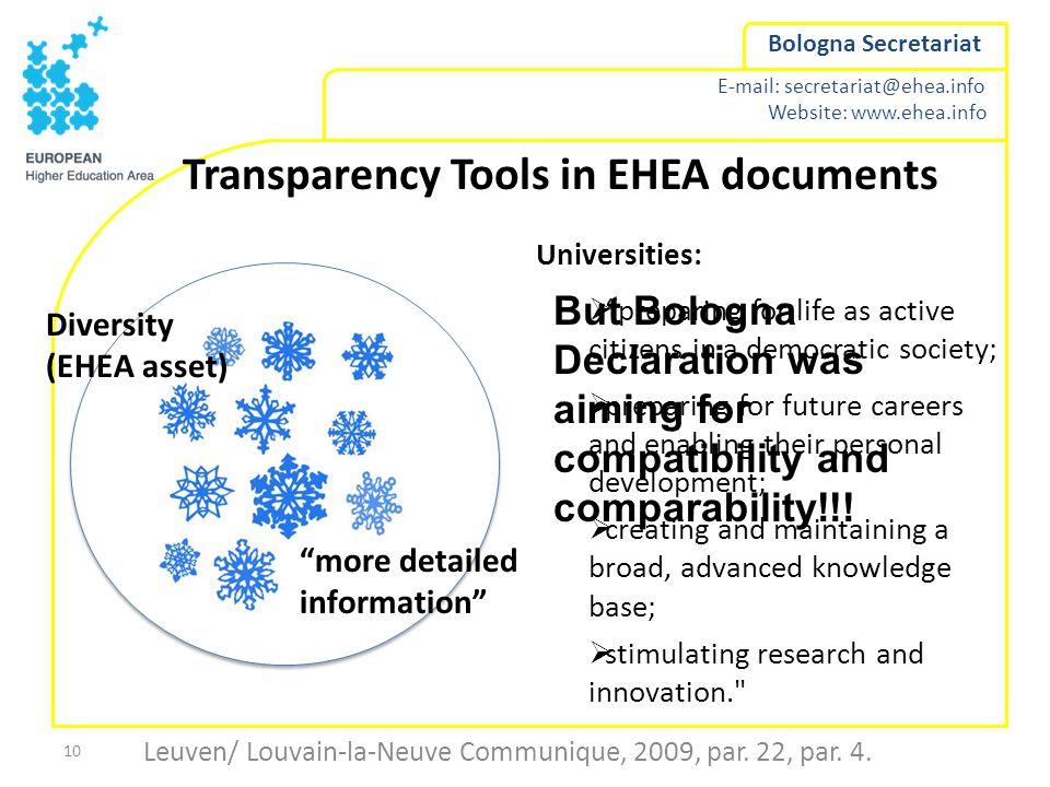 E-mail: secretariat@ehea.info Website: www.ehea.info Bologna Secretariat Leuven/ Louvain-la-Neuve Communique, 2009, par. 22, par. 4. 10 Transparency T