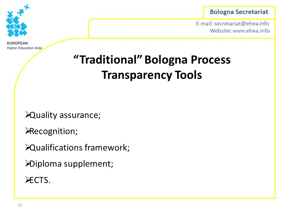 E-mail: secretariat@ehea.info Website: www.ehea.info Bologna Secretariat 15 Traditional Bologna Process Transparency Tools  Quality assurance;  Recognition;  Qualifications framework;  Diploma supplement;  ECTS.
