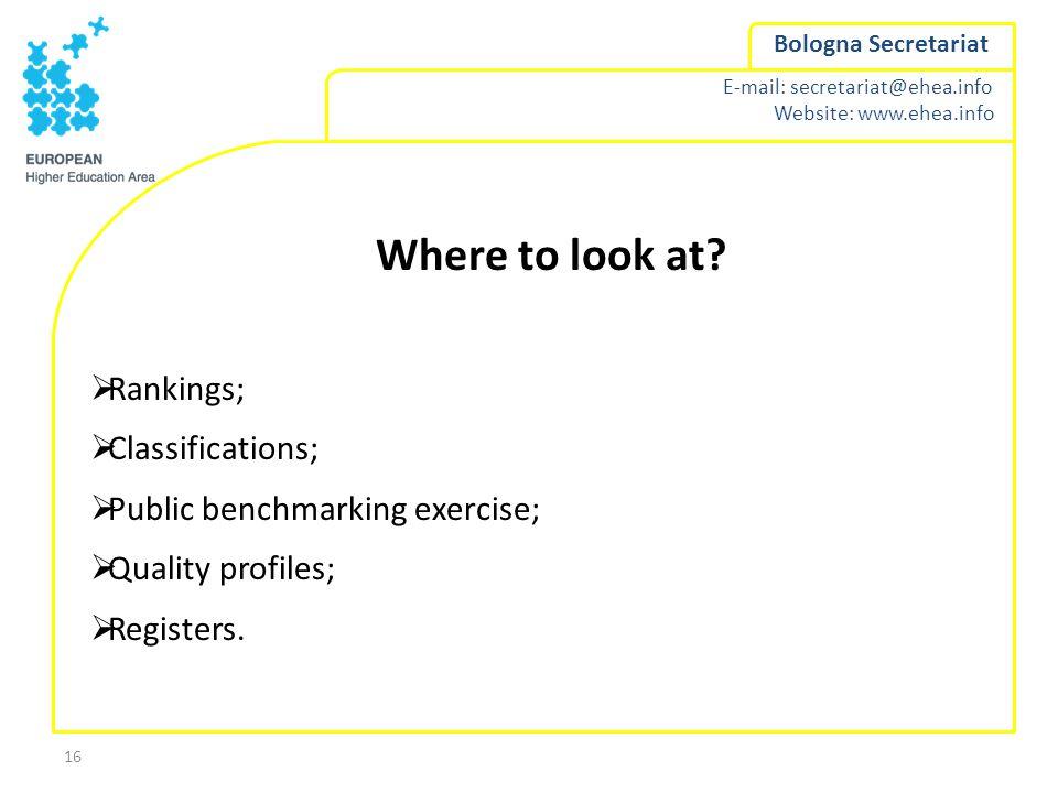 E-mail: secretariat@ehea.info Website: www.ehea.info Bologna Secretariat 16 Where to look at?  Rankings;  Classifications;  Public benchmarking exe