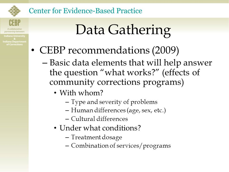 """Data Gathering CEBP recommendations (2009) – Basic data elements that will help answer the question """"what works?"""" (effects of community corrections pr"""