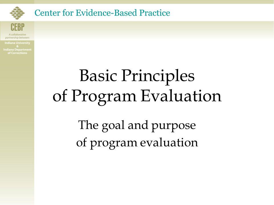 Basic Principles of Program Evaluation Conclusions & Questions