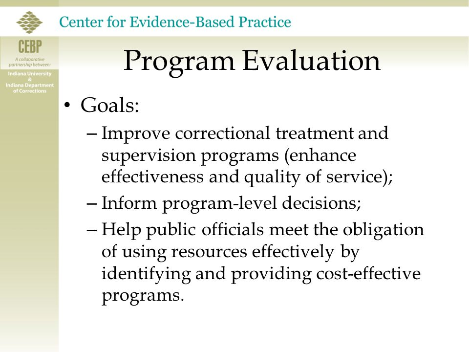 Program Evaluation Goals – To inform decisions by identifying The need for specific services The likelihood that these services will be utilized What amount of service is necessary to meet the needs that have been identified