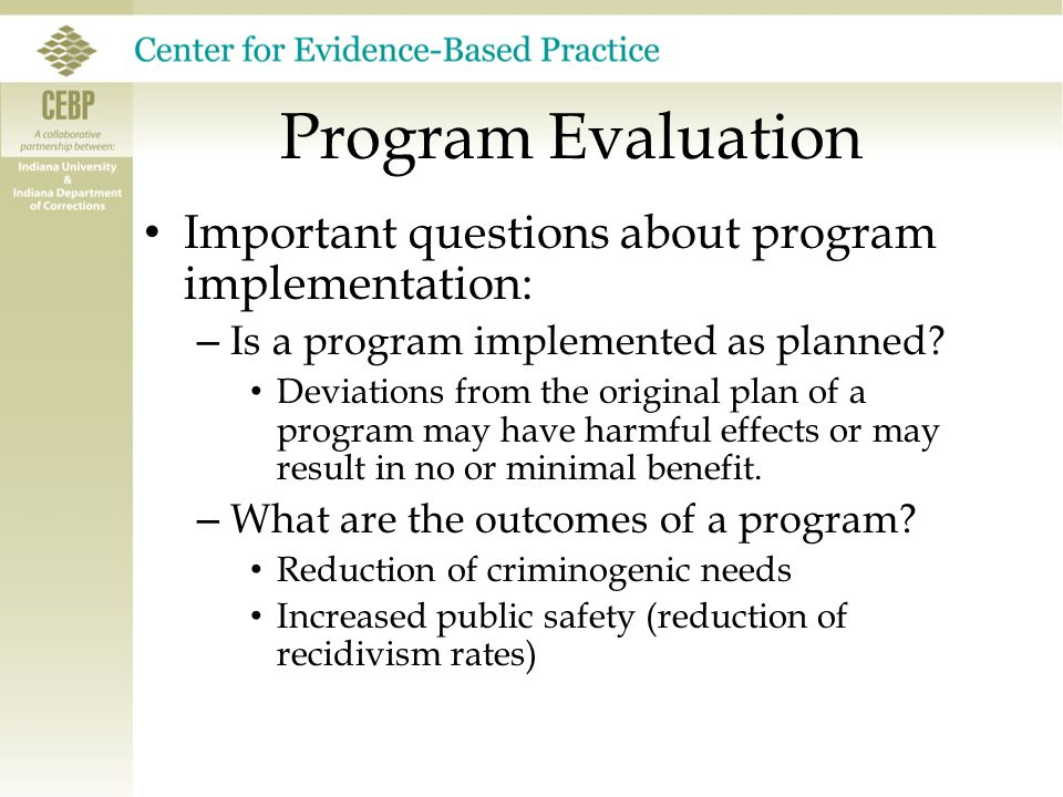 Program Evaluation Important questions about program implementation: – Is a program implemented as planned? Deviations from the original plan of a pro