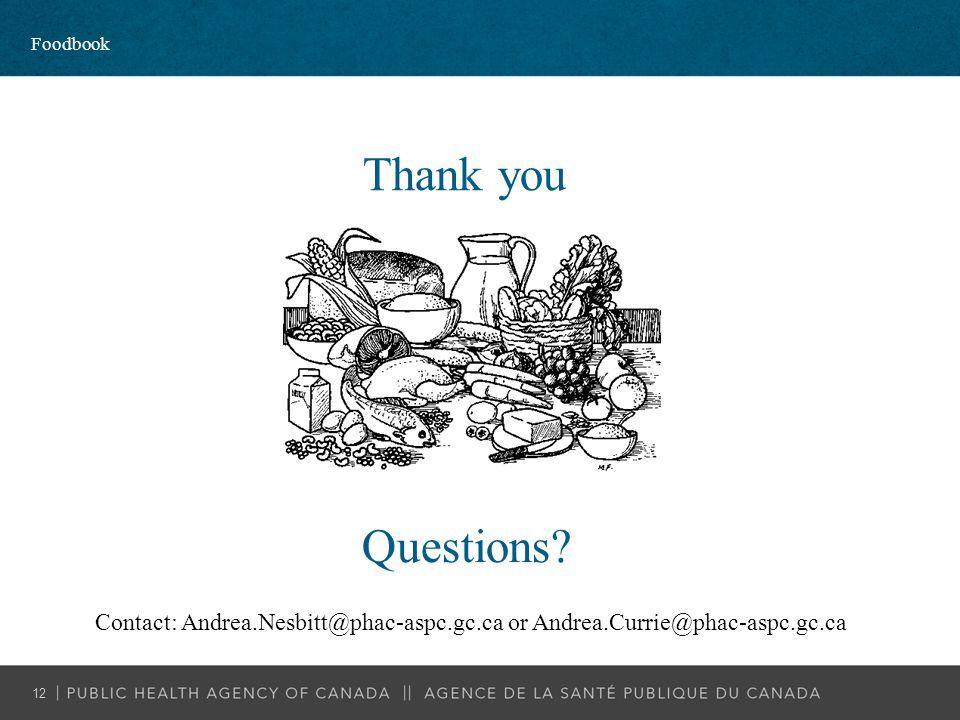 Thank you Contact: Andrea.Nesbitt@phac-aspc.gc.ca or Andrea.Currie@phac-aspc.gc.ca Questions? Foodbook 12