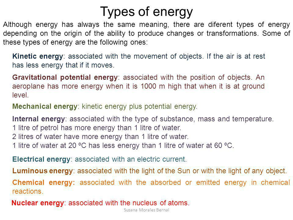 Types of energy Although energy has always the same meaning, there are diferent types of energy depending on the origin of the ability to produce chan