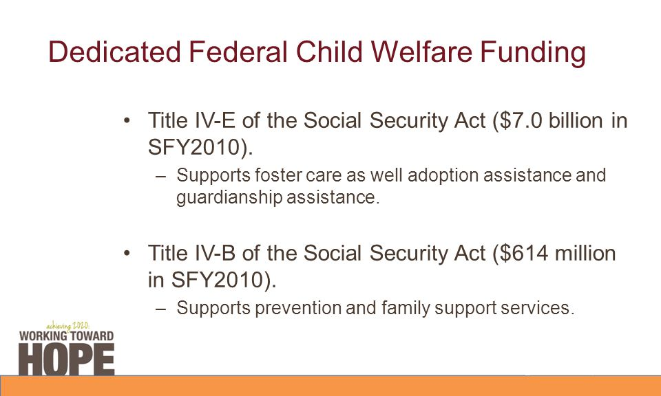 Dedicated Federal Child Welfare Funding Title IV-E of the Social Security Act ($7.0 billion in SFY2010).