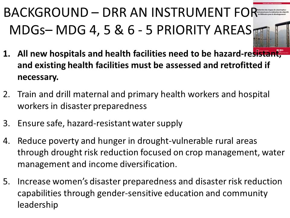 1.All new hospitals and health facilities need to be hazard-resistant, and existing health facilities must be assessed and retrofitted if necessary.